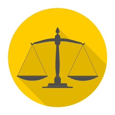 justice scale: Justice scale icon with long shadow