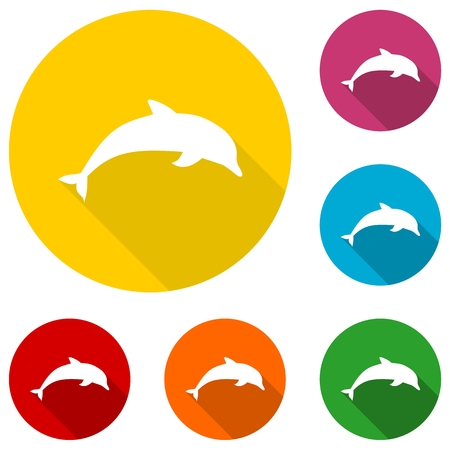 viviparous: Dolphin icon with long shadow set
