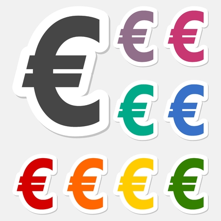 currency symbol: Euro sign stickers set, EUR currency symbol, Money label