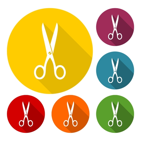 Scissors icon set with long shadow Illustration