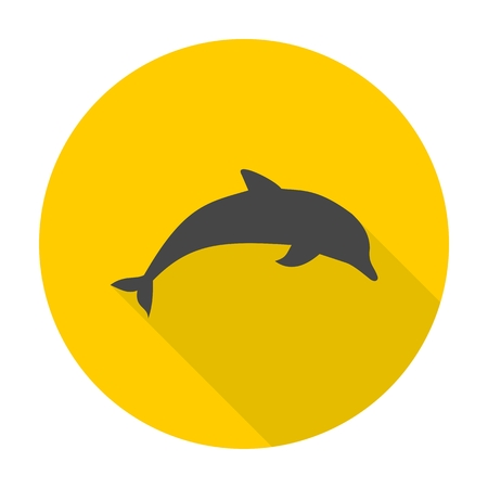 animal viviparous: Dolphin icon with long shadow