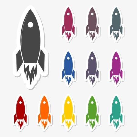 launch: Rocket launch stickers set