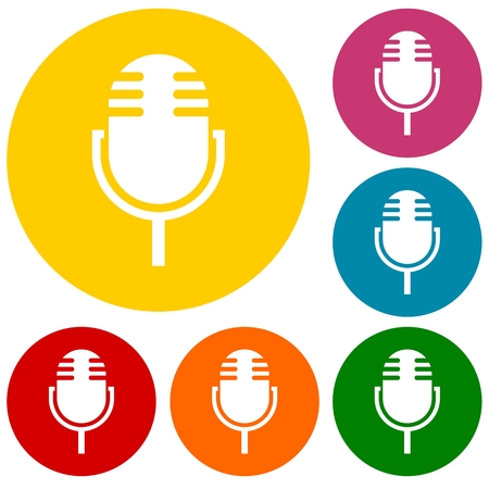 playback: Simple Microphone Icons set Illustration