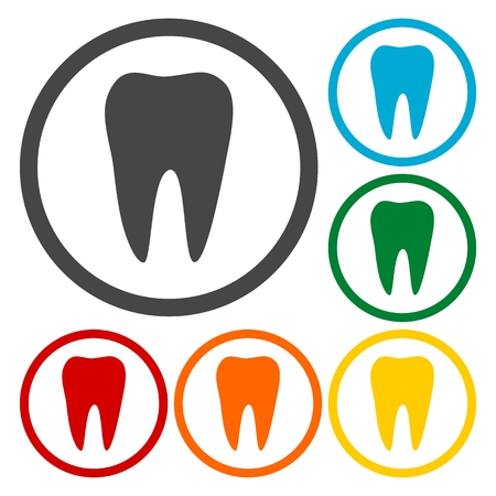 mouth pain: Tooth Icons set Illustration