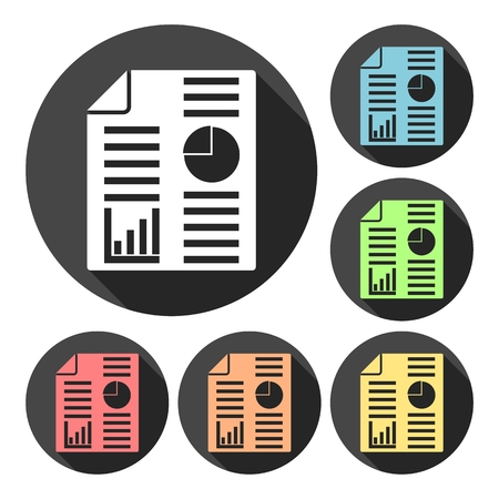 Business report icons set with long shadow Illustration