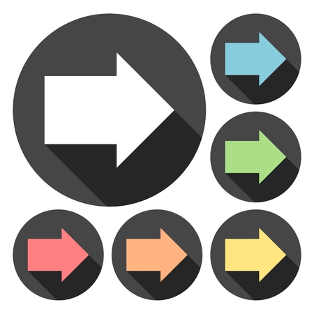 plain button: Arrow right icons set with long shadow Illustration