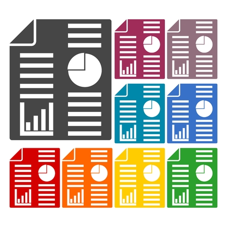 apprise: Business report icons set Illustration