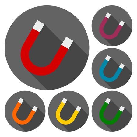 lodestone: Horseshoe magnet set with long shadow