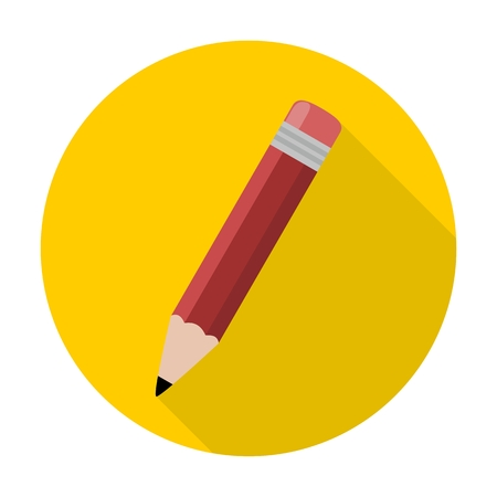 compose: Compose icon, pencil with long shadow Illustration