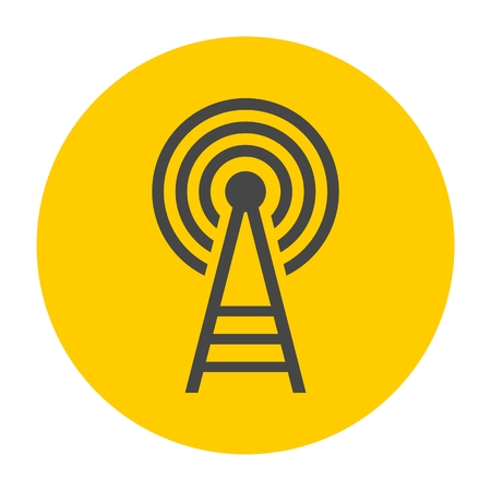 cell phone transmitter tower: Transmitter tower icon Illustration