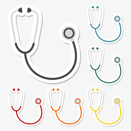 clean lungs: Phonendoscope icons stickers set