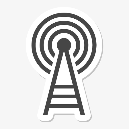 cell phone transmitter tower: Transmitter tower icon sticker Illustration