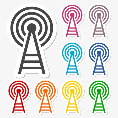 cell phone transmitter tower: Transmitter tower icons set Illustration