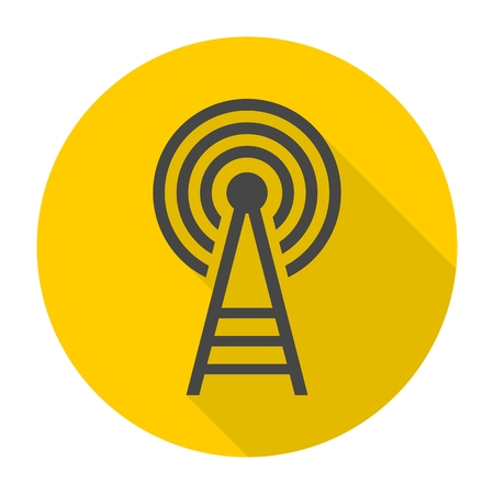 cell phone transmitter tower: Transmitter tower icon with long shadow Illustration