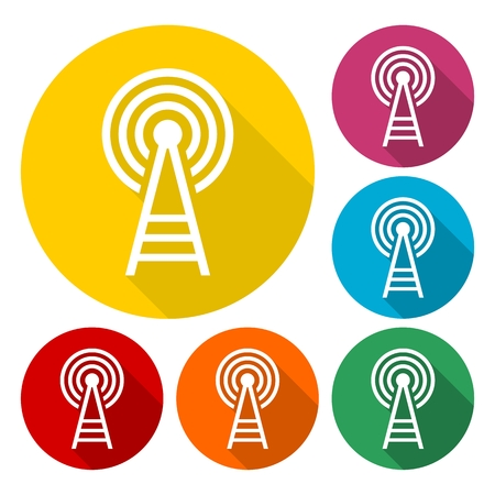 cell phone transmitter tower: Transmitter tower icons set with long shadow