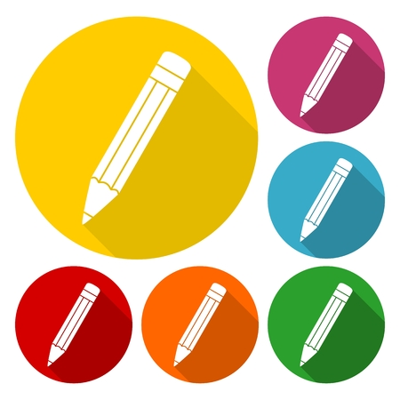 compose: Compose icon, pencil set with long shadow Illustration