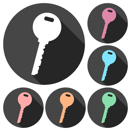 pictograph: Key icons set with long shadow