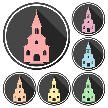 born again: Church icons set with long shadow