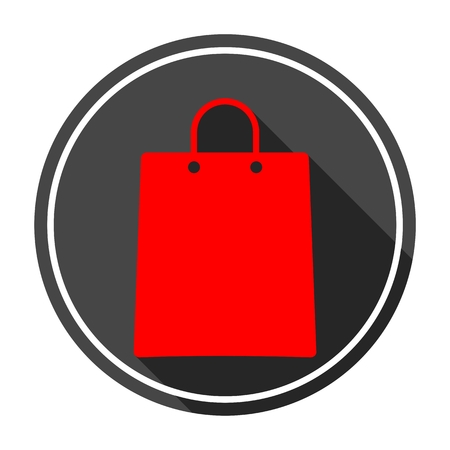 gree: Shopping bag Icon with long shadow Illustration