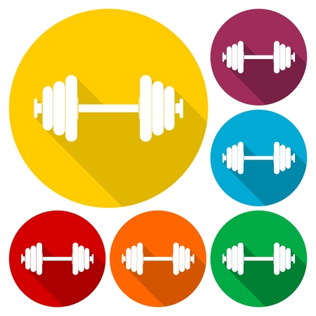 forceful: Dumbbell icons set with long shadow Illustration
