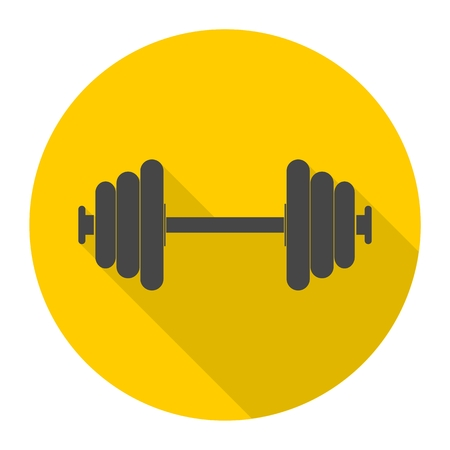 heavy load: Dumbbell icon with long shadow Illustration