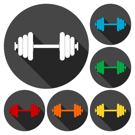 heavy load: Dumbbell icons set with long shadow Illustration