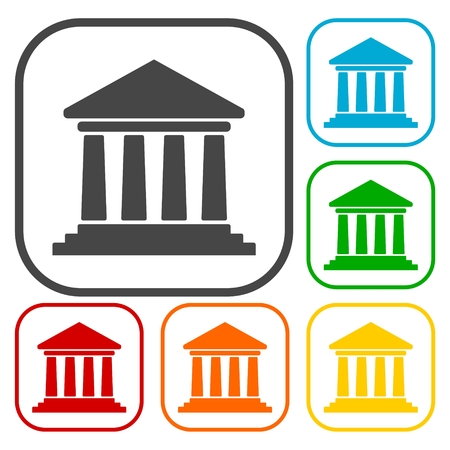 governmental: Bank building icons, Court building icons set
