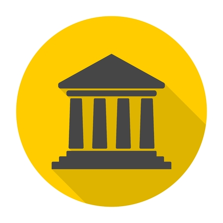 governmental: Bank building icon, Court building icon with long shadow