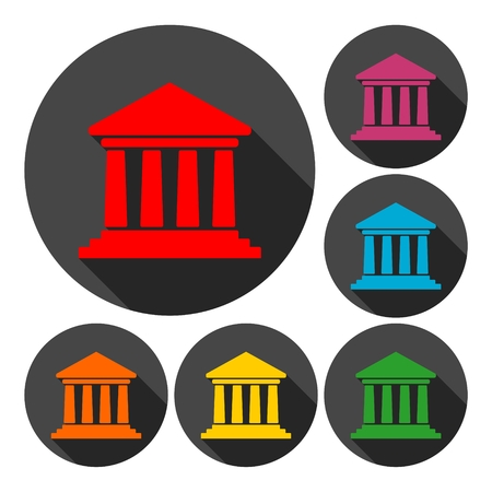 governmental: Bank building icons, Court building icons with long shadow set Illustration