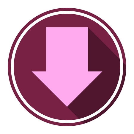 arrow down icon: Direction arrow down icon with long shadow