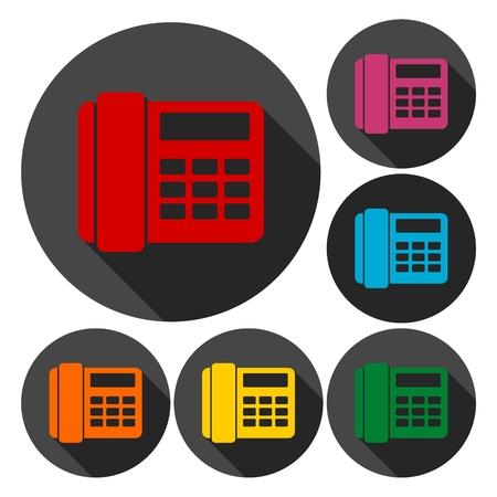 telephone icons: Telephone Icons set with Long Shadow Illustration