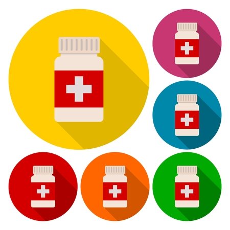 a substance vial: Medical bottle icons set with long shadow