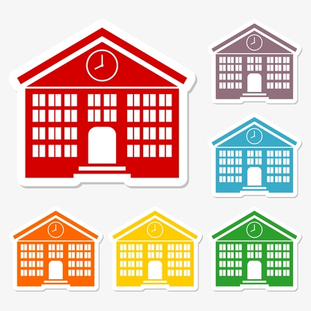 post secondary schools: School building sticker icons set