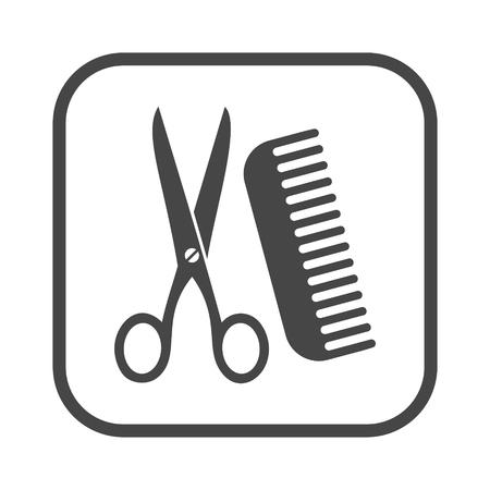 Comb and scissors icon
