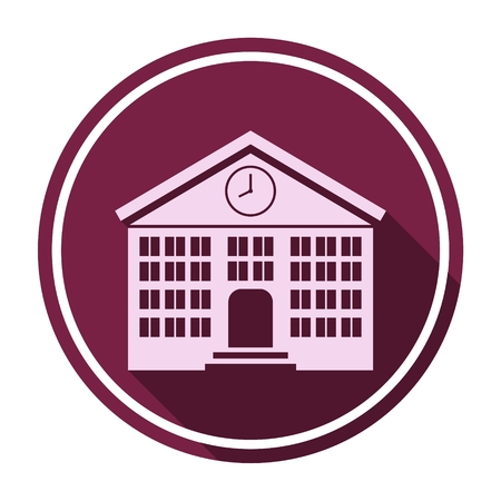 post secondary schools: School building icon with long shadow