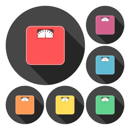analog weight scale: Bathroom scale icons set with long shadow Illustration