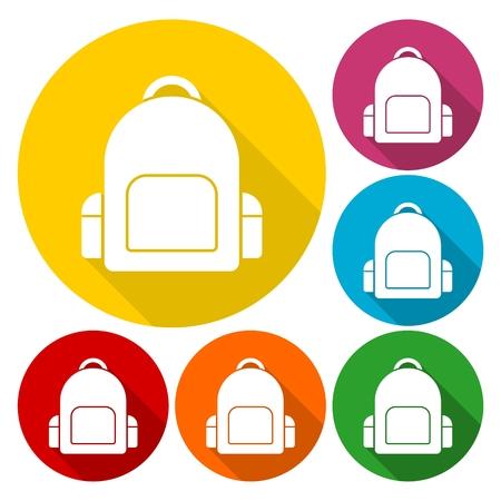 mochila escolar: iconos del bolso de escuela fijaron