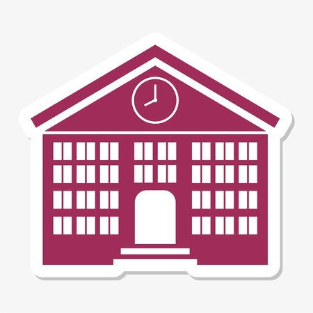 post secondary schools: School building sticker Illustration