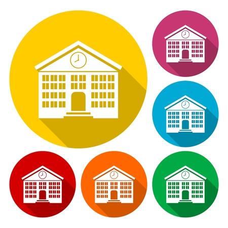 Schulgebäude Icons Set mit langen Schatten Standard-Bild - 53363436