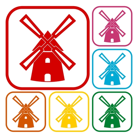 spinning windmill: Windmill icons set Illustration