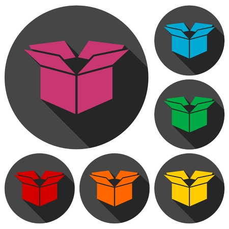 stockpile: Open box icons set with long shadow Illustration