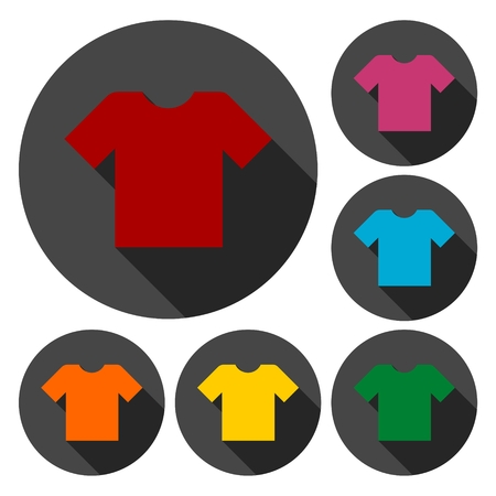 v neck: T-shirt sign icon, Clothes symbol set with long shadow Illustration