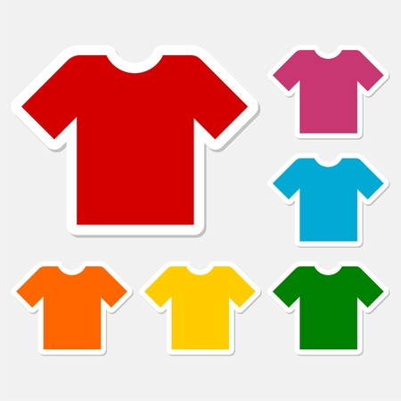 v neck: T-shirt sign icon, Clothes symbol stickers set Illustration