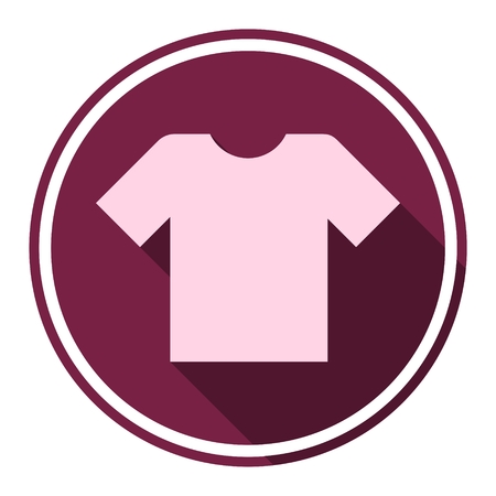 polyester: T-shirt sign icon, Clothes symbol with long shadow
