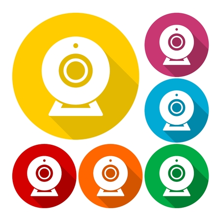 webcam: Webcam sign icons set with long shadow Illustration