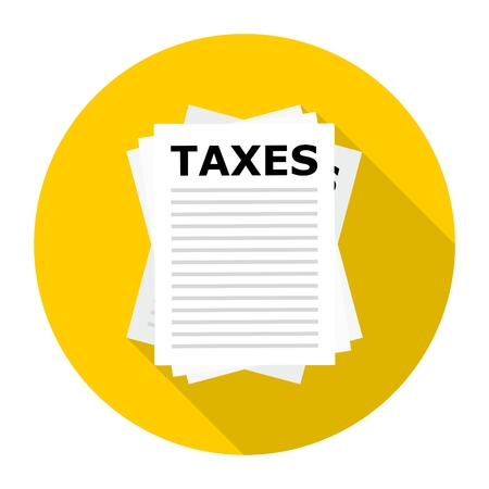 fetter: Taxes icon with long shadow Illustration