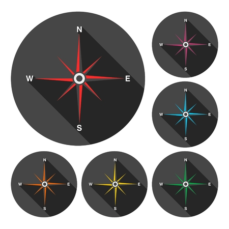 Compass icons set with long shadow