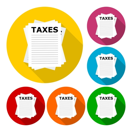 fetter: Taxes icons set with long shadow