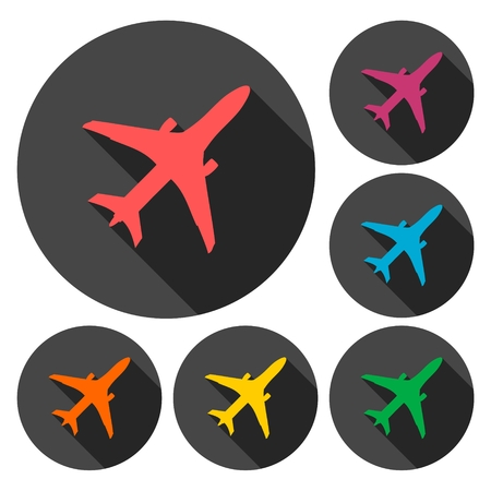 private jet: Plane icons set with long shadow