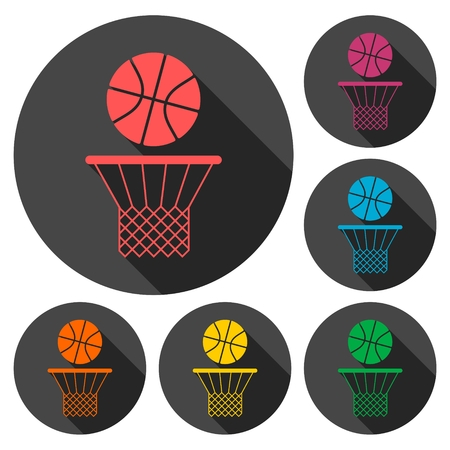 recreational pursuit: Basketball icons set with long shadow